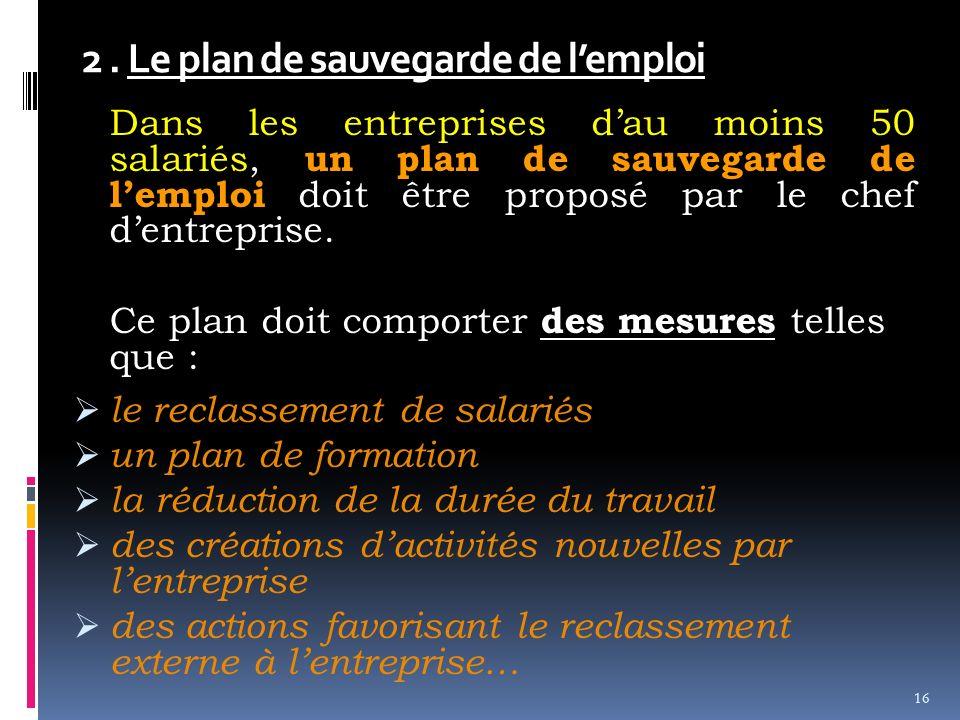 2 . Le plan de sauvegarde de l'emploi
