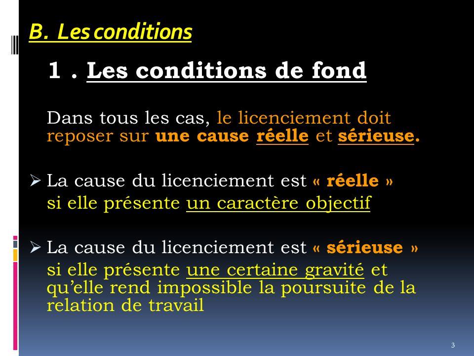 B. Les conditions 1 . Les conditions de fond