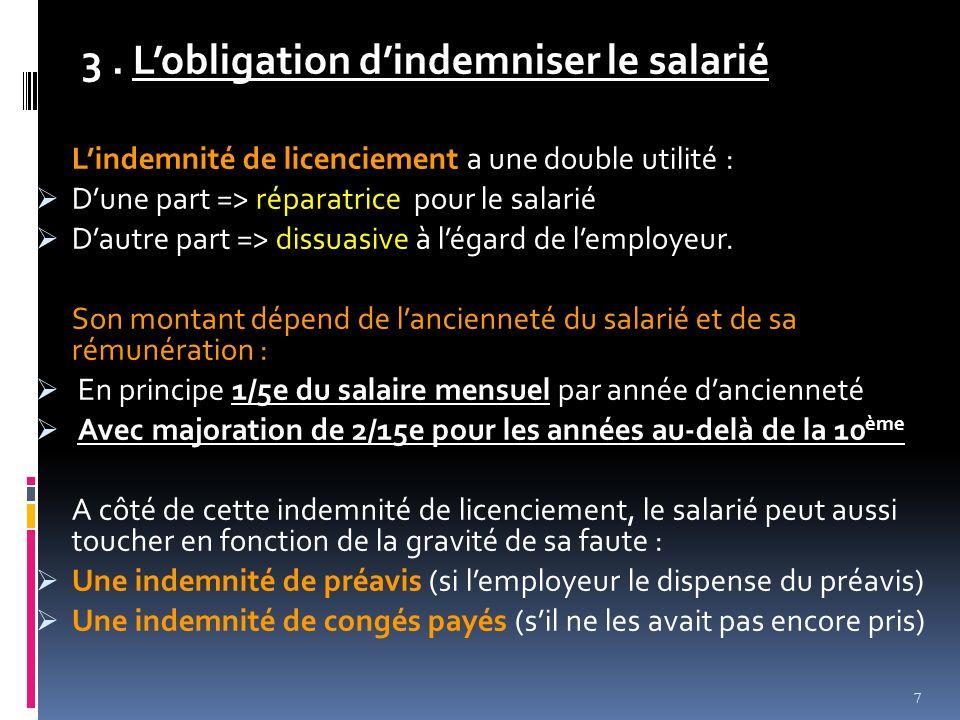 3 . L'obligation d'indemniser le salarié