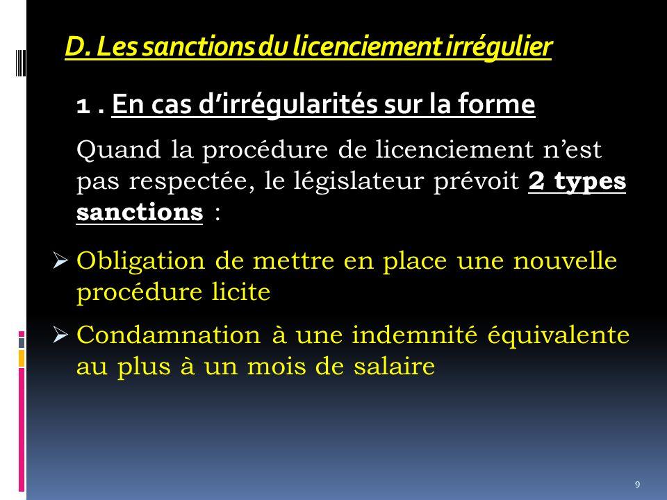 D. Les sanctions du licenciement irrégulier