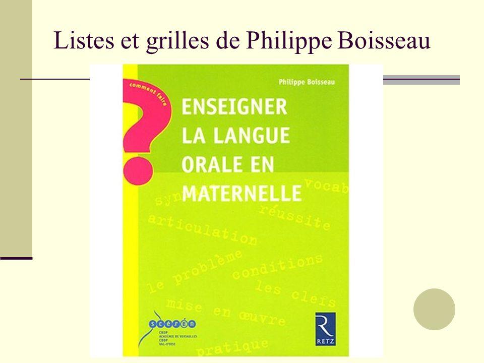 Listes et grilles de Philippe Boisseau