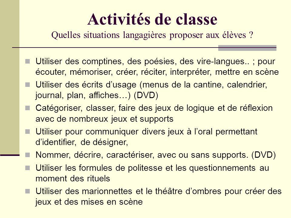 Activités de classe Quelles situations langagières proposer aux élèves