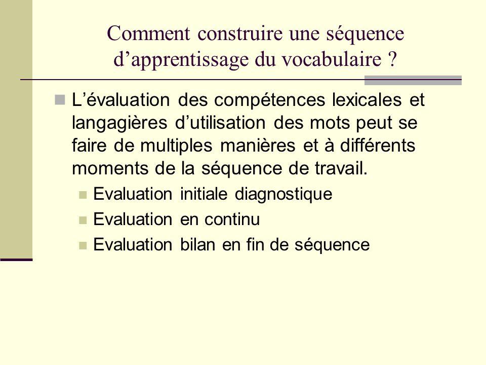 Comment construire une séquence d'apprentissage du vocabulaire