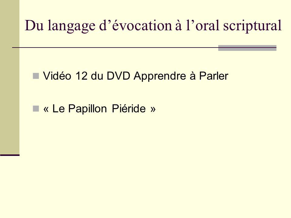 Du langage d'évocation à l'oral scriptural