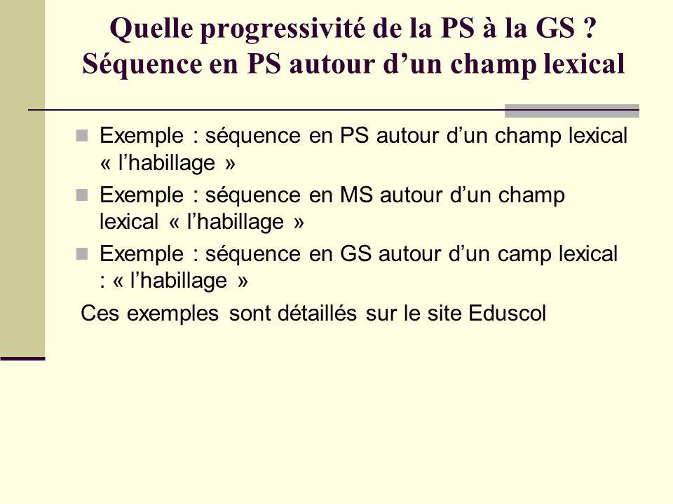 Quelle progressivité de la PS à la GS