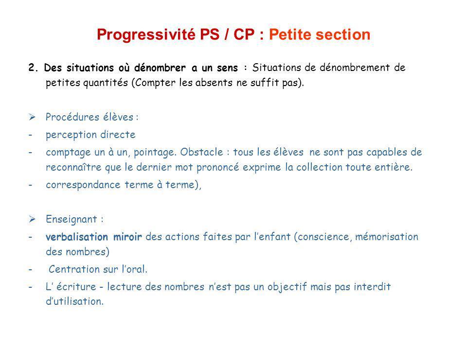 Progressivité PS / CP : Petite section