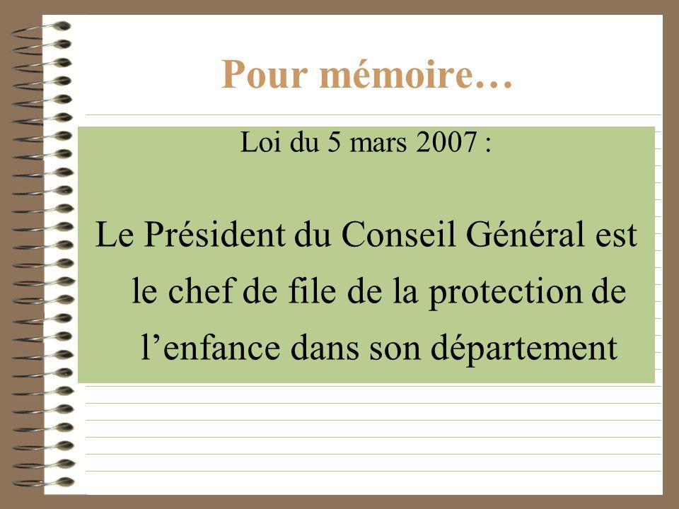 Pour mémoire… Loi du 5 mars 2007 : Le Président du Conseil Général est le chef de file de la protection de l'enfance dans son département.