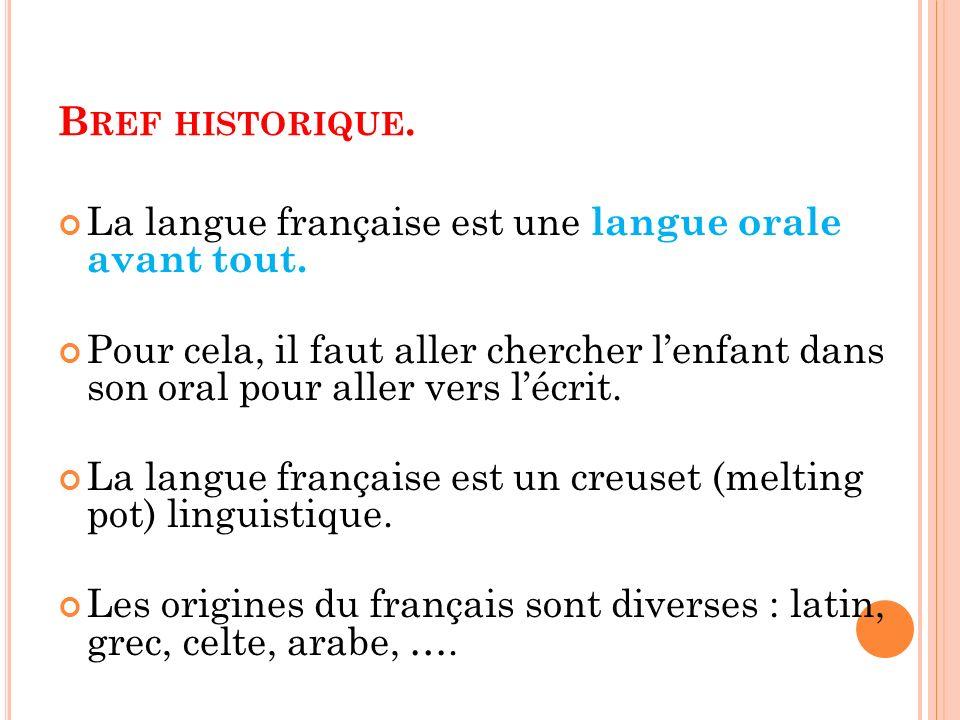 Bref historique. La langue française est une langue orale avant tout.
