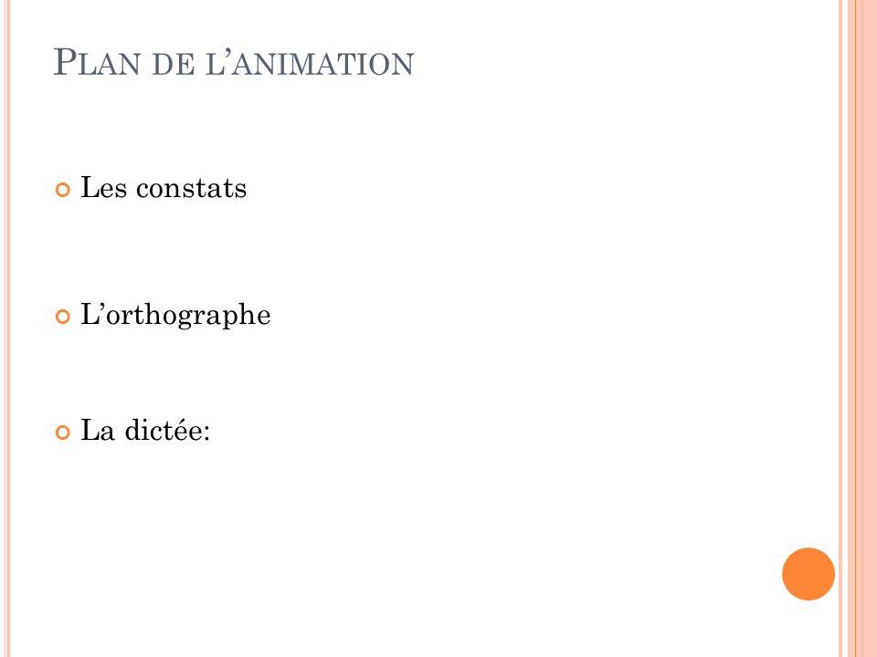 Plan de l'animation Les constats L'orthographe La dictée: