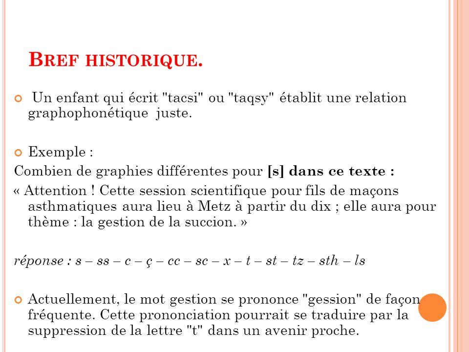 Bref historique. Un enfant qui écrit tacsi ou taqsy établit une relation graphophonétique juste.