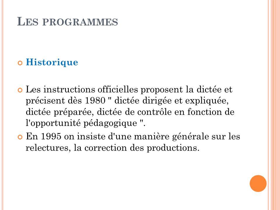 Les programmes Historique