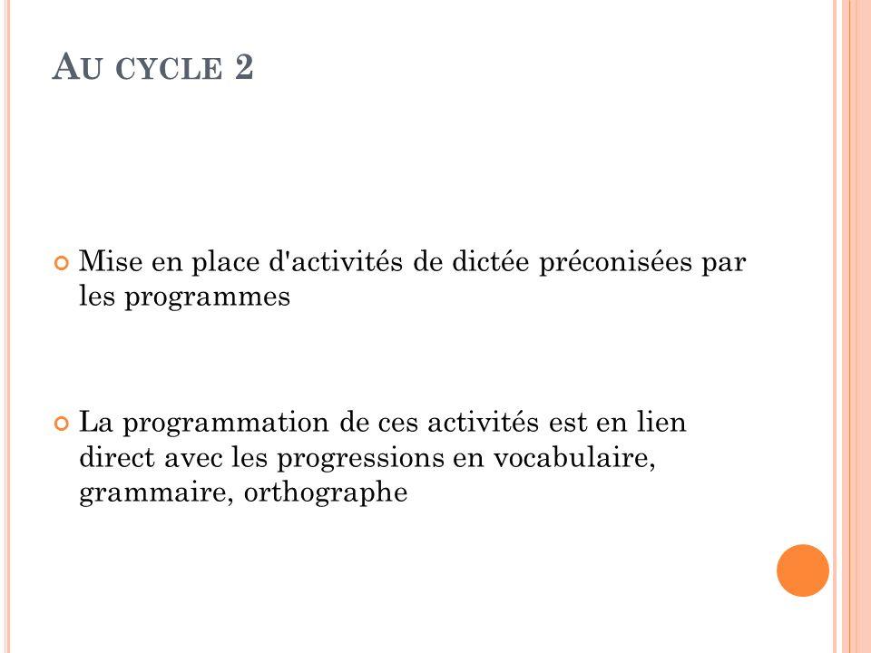 Au cycle 2 Mise en place d activités de dictée préconisées par les programmes.