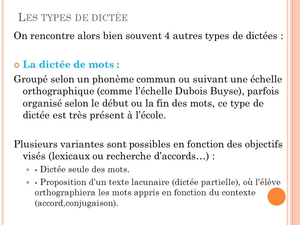 Les types de dictée On rencontre alors bien souvent 4 autres types de dictées : La dictée de mots :
