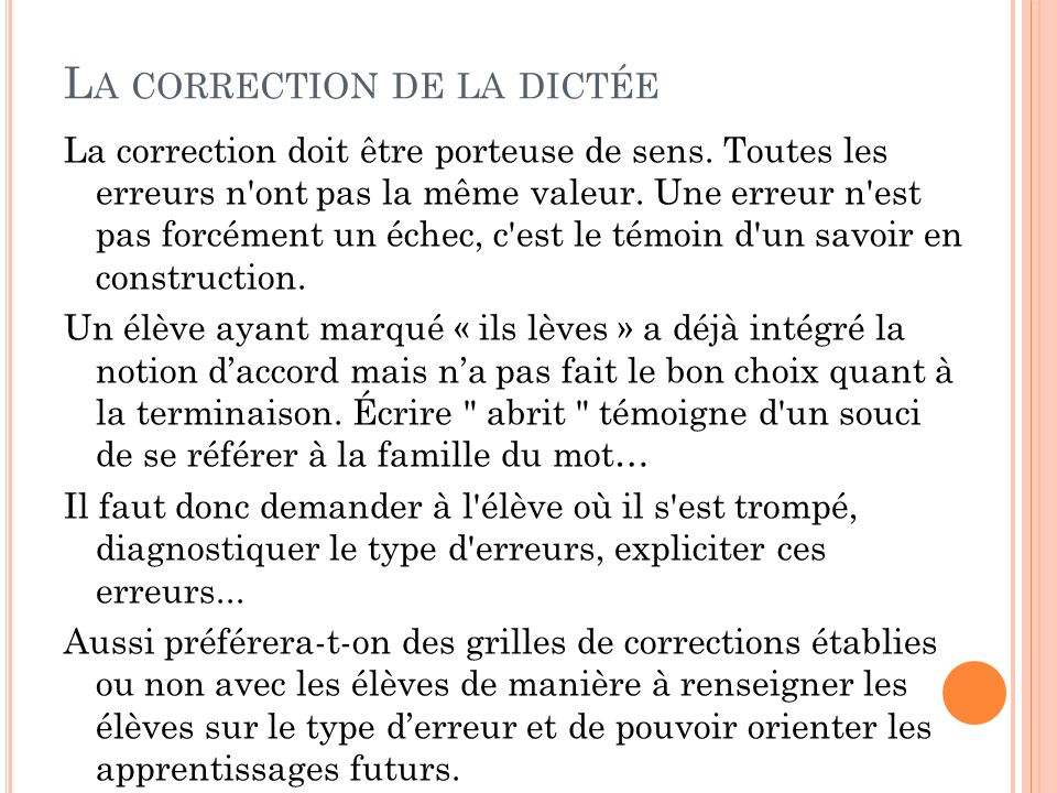 La correction de la dictée