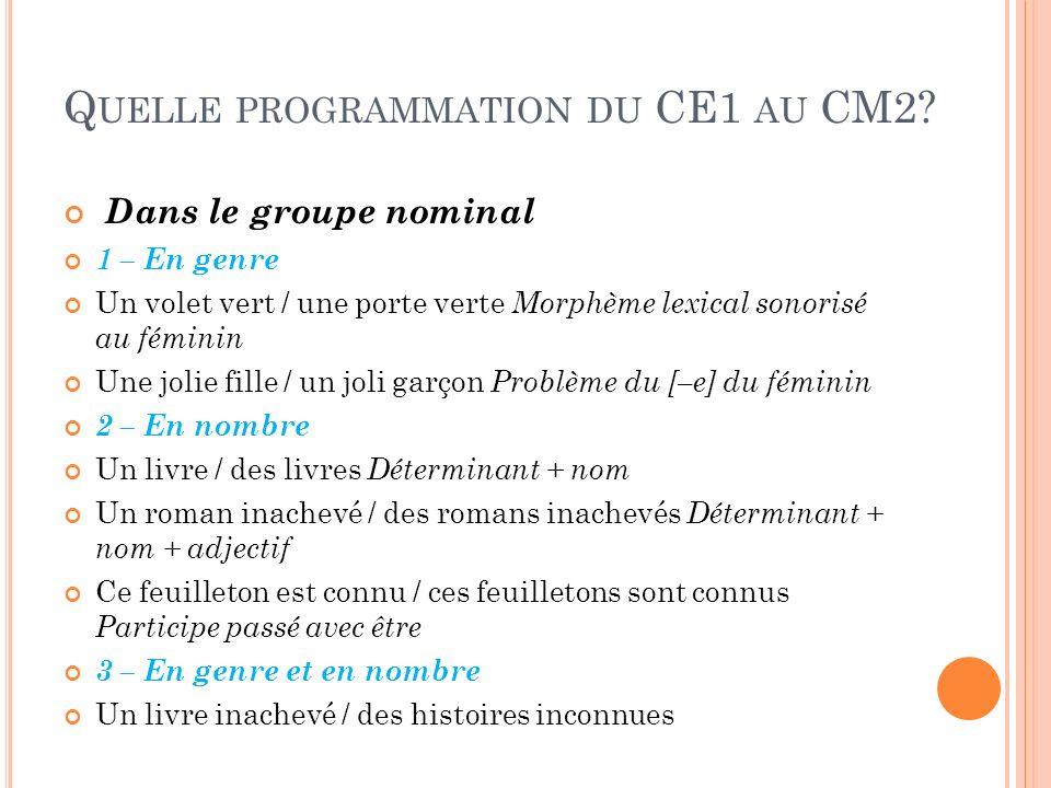 Quelle programmation du CE1 au CM2