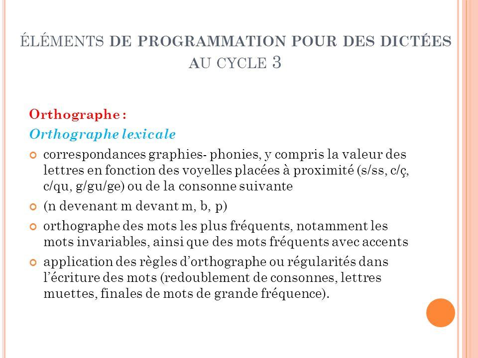 éléments de programmation pour des dictées au cycle 3