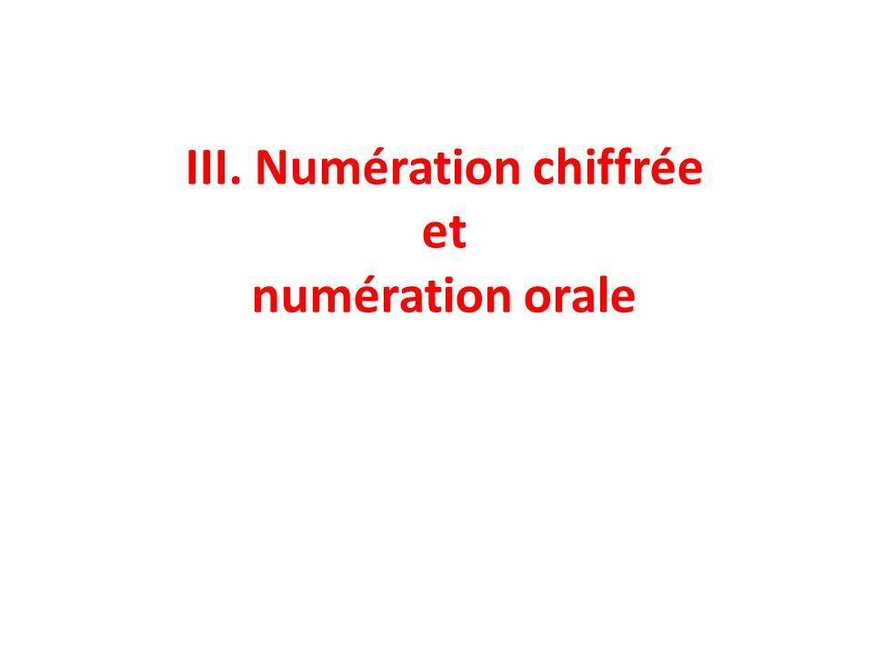 III. Numération chiffrée et numération orale