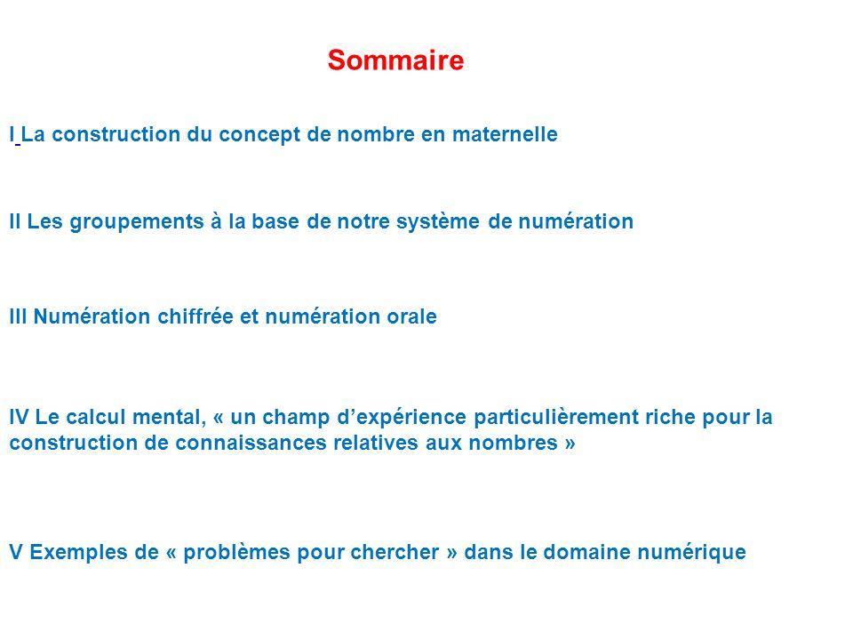 Sommaire I La construction du concept de nombre en maternelle