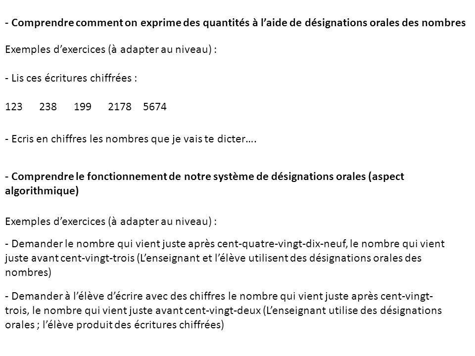- Comprendre comment on exprime des quantités à l'aide de désignations orales des nombres