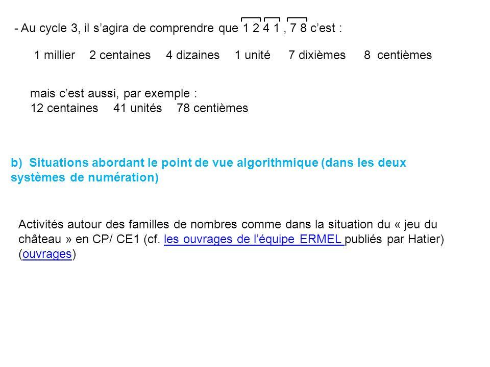 - Au cycle 3, il s'agira de comprendre que 1 2 4 1 , 7 8 c'est :