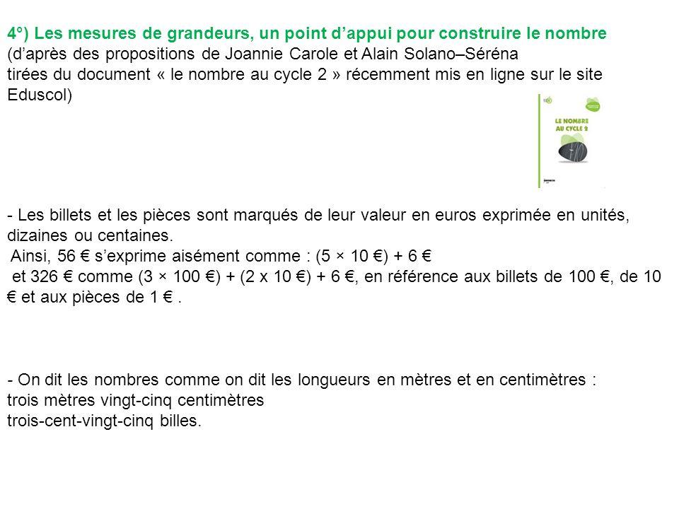 4°) Les mesures de grandeurs, un point d'appui pour construire le nombre (d'après des propositions de Joannie Carole et Alain Solano–Séréna tirées du document « le nombre au cycle 2 » récemment mis en ligne sur le site Eduscol)