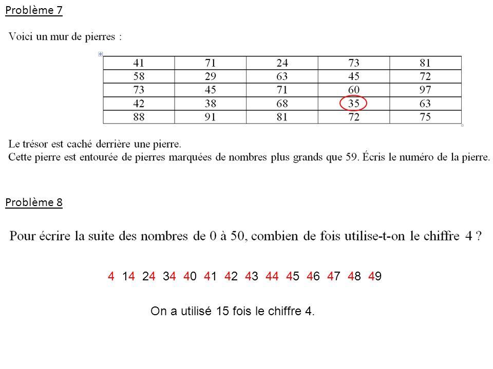Problème 7 Problème 8. 4 14 24 34 40 41 42 43 44 45 46 47 48 49.
