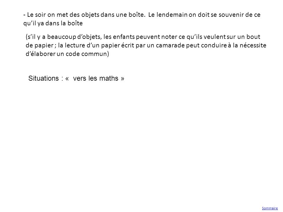 Situations : « vers les maths »