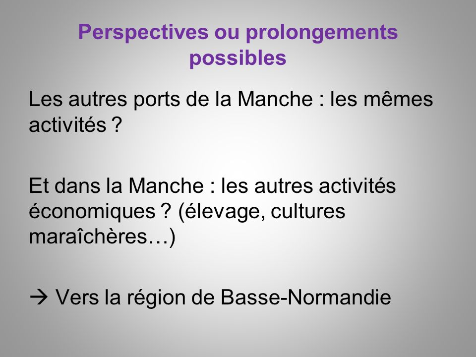 Perspectives ou prolongements possibles