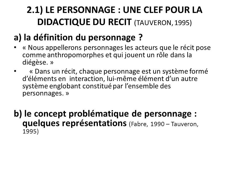 2.1) LE PERSONNAGE : UNE CLEF POUR LA DIDACTIQUE DU RECIT (TAUVERON, 1995)