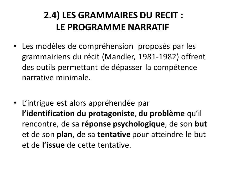 2.4) LES GRAMMAIRES DU RECIT : LE PROGRAMME NARRATIF