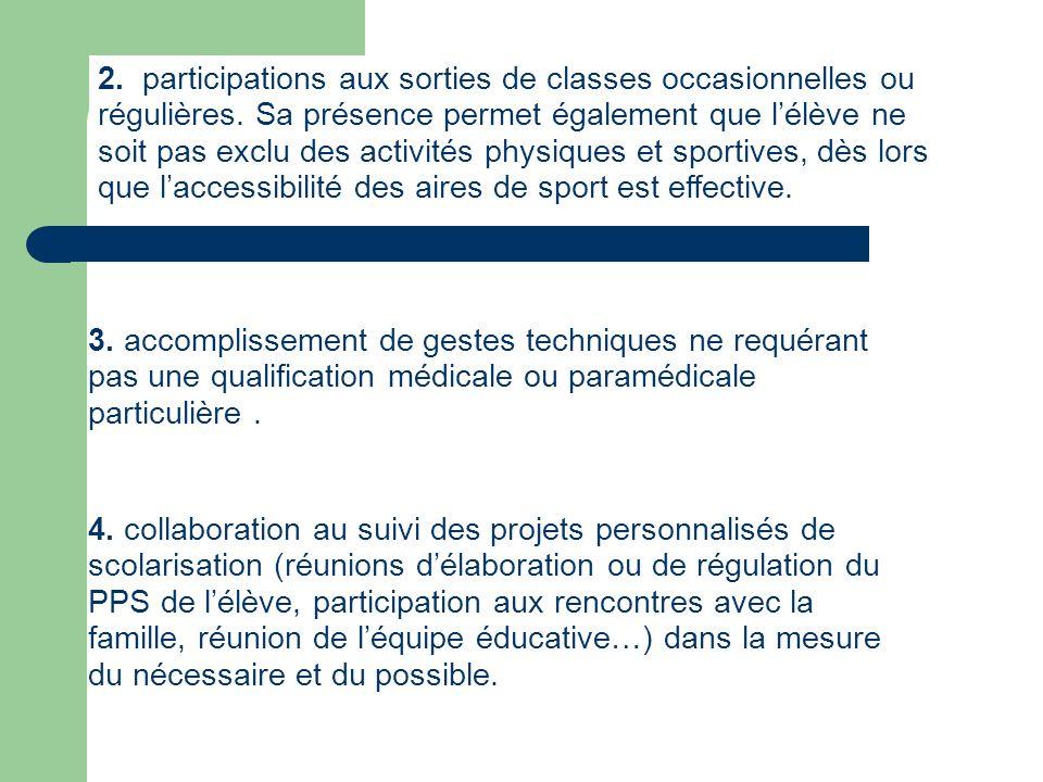 2. participations aux sorties de classes occasionnelles ou régulières
