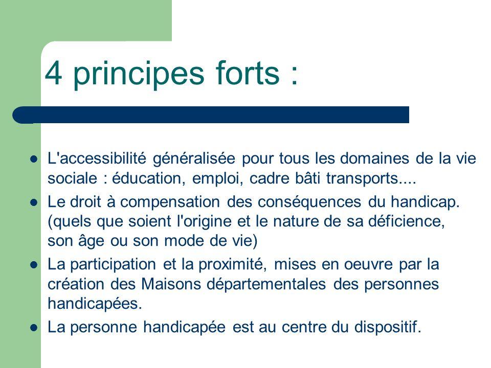 4 principes forts : L accessibilité généralisée pour tous les domaines de la vie sociale : éducation, emploi, cadre bâti transports....