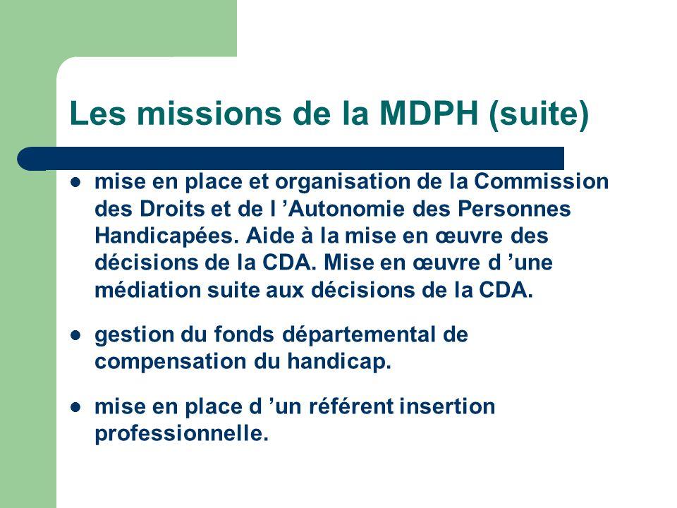 Les missions de la MDPH (suite)
