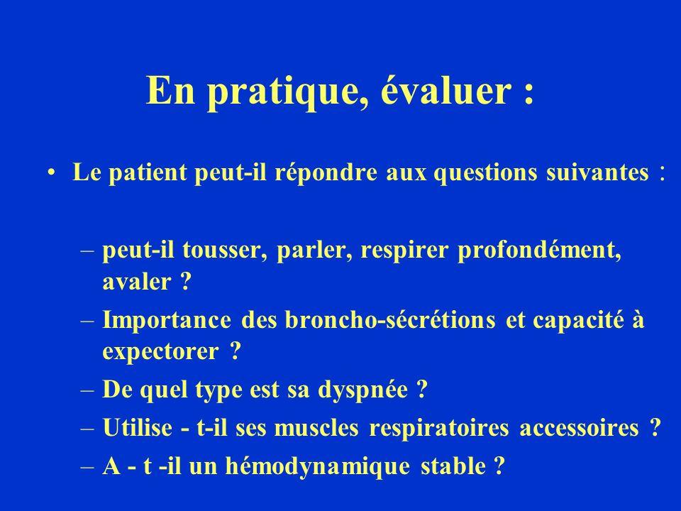 En pratique, évaluer : Le patient peut-il répondre aux questions suivantes : peut-il tousser, parler, respirer profondément, avaler