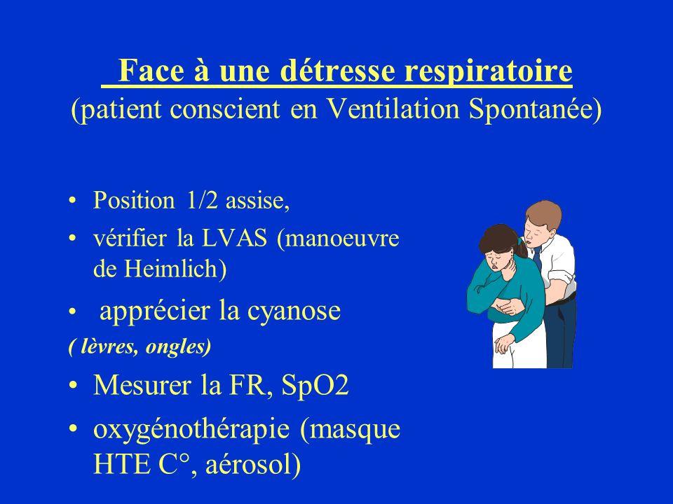 Face à une détresse respiratoire (patient conscient en Ventilation Spontanée)