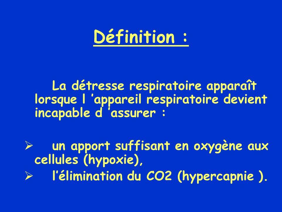 Définition : La détresse respiratoire apparaît lorsque l 'appareil respiratoire devient incapable d 'assurer :
