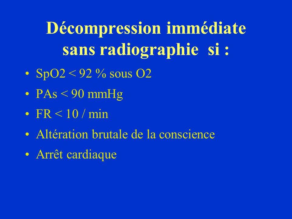 Décompression immédiate sans radiographie si :