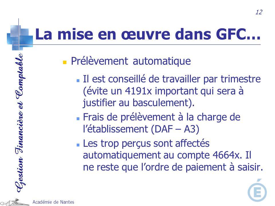 La mise en œuvre dans GFC…