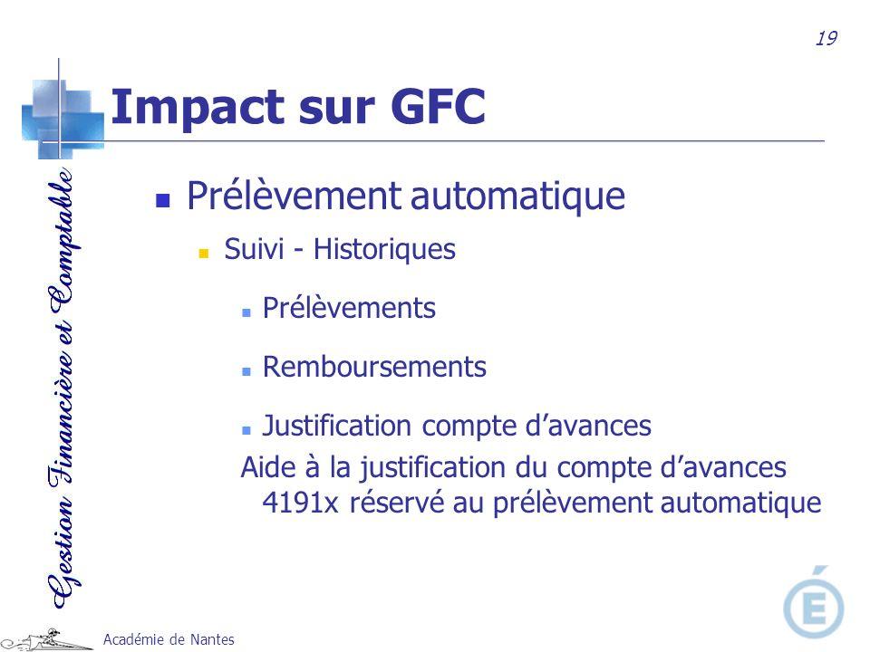 Impact sur GFC Prélèvement automatique Suivi - Historiques