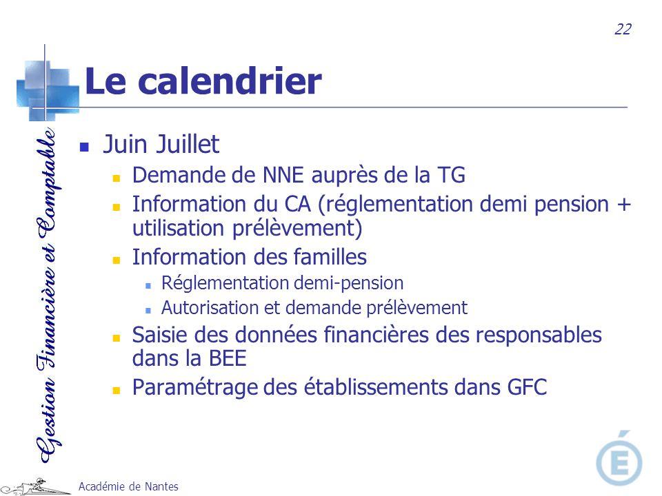 Le calendrier Juin Juillet Demande de NNE auprès de la TG
