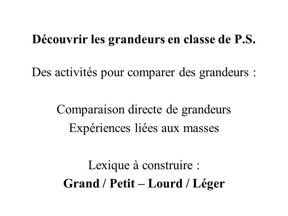 Découvrir les grandeurs en classe de P.S.