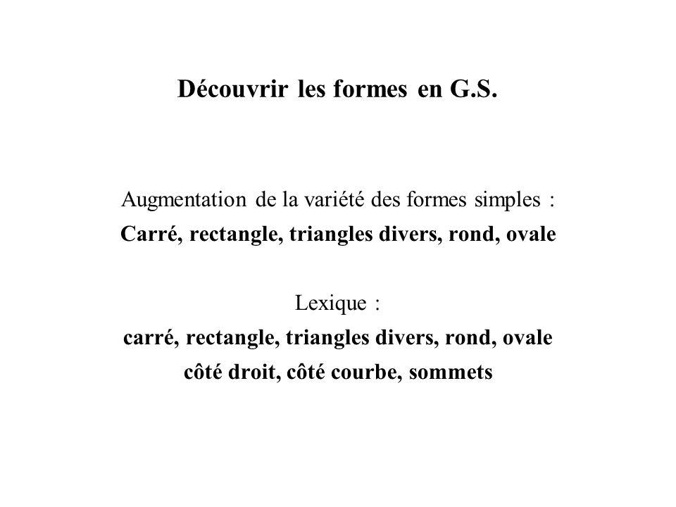 Découvrir les formes en G.S.