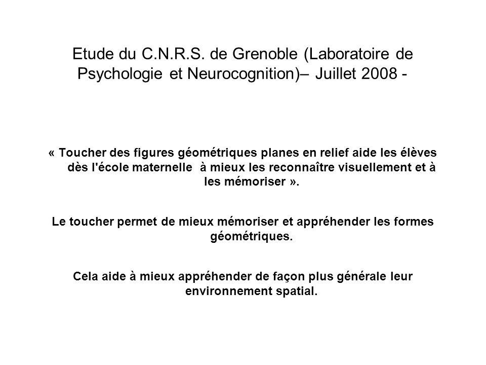 Etude du C.N.R.S. de Grenoble (Laboratoire de Psychologie et Neurocognition)– Juillet 2008 -