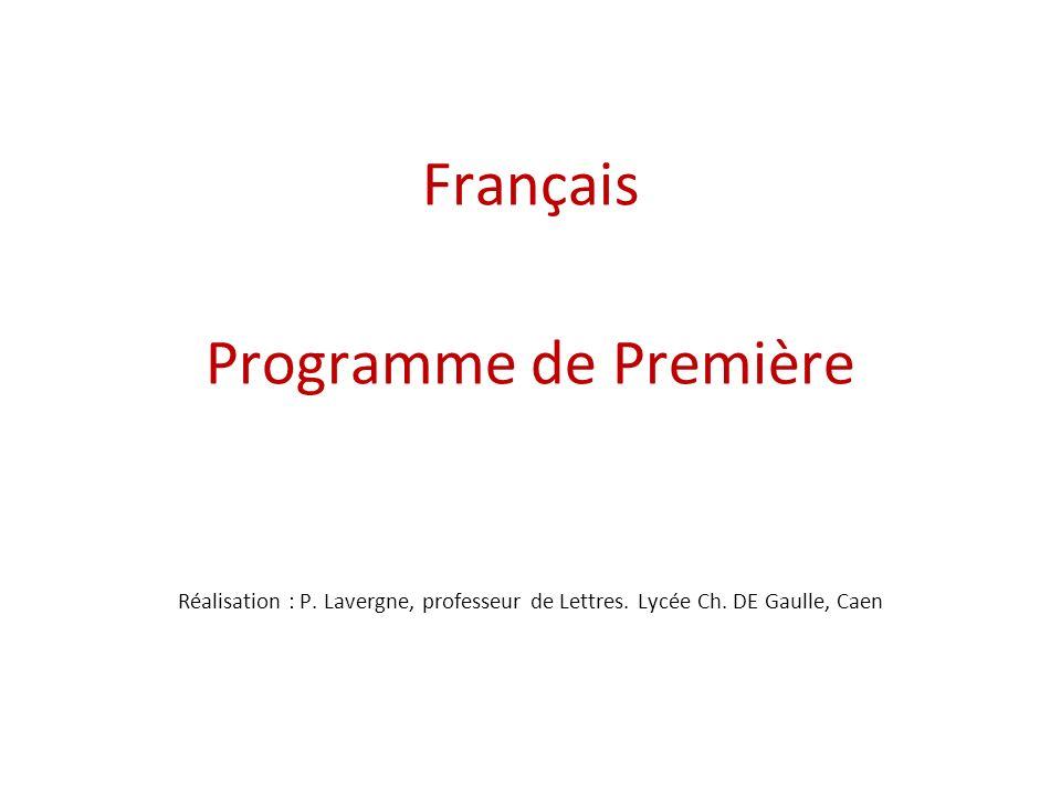 Français Programme de Première Réalisation : P