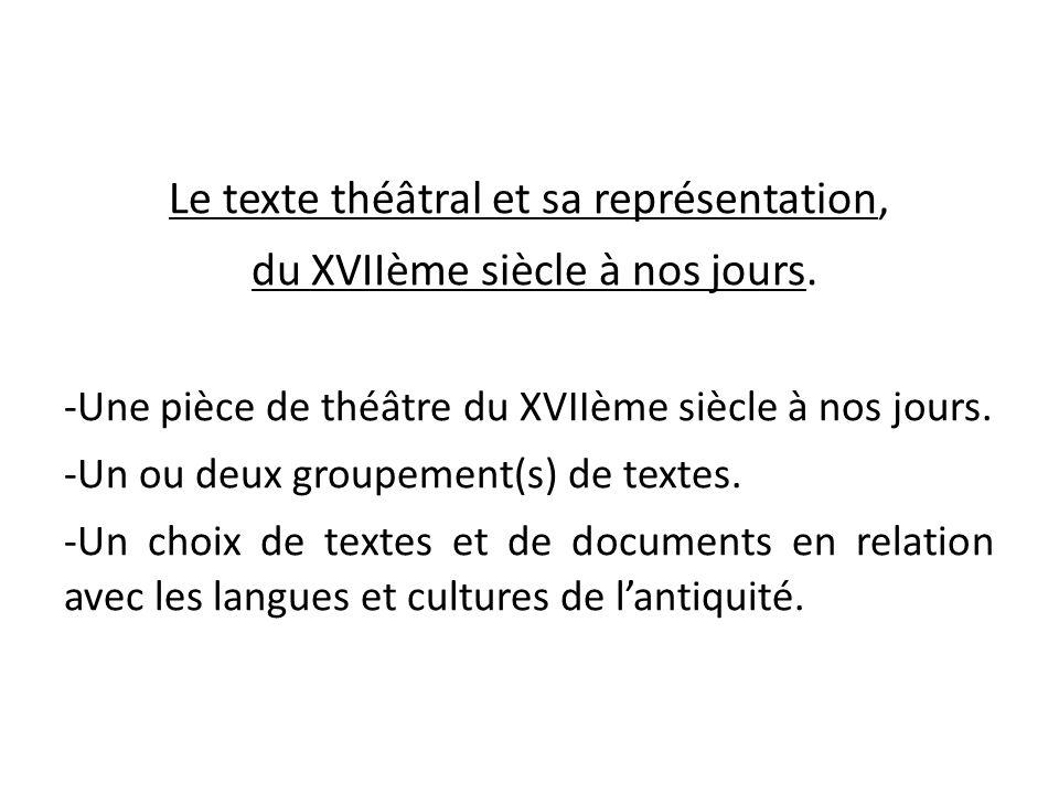 Le texte théâtral et sa représentation, du XVIIème siècle à nos jours.