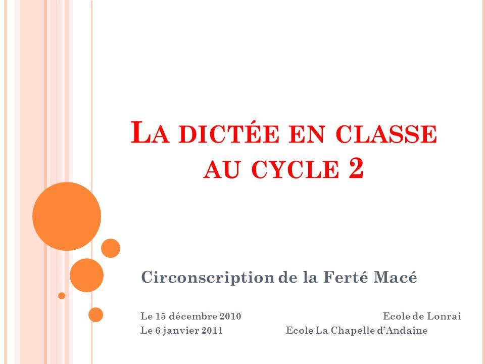 La dictée en classe au cycle 2
