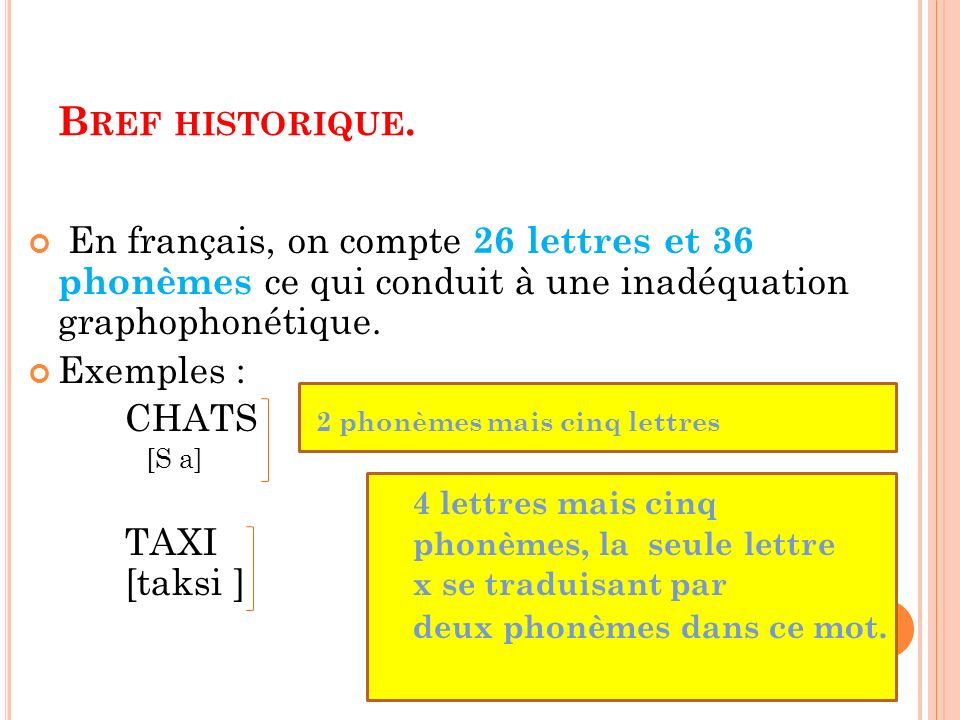 Bref historique. En français, on compte 26 lettres et 36 phonèmes ce qui conduit à une inadéquation graphophonétique.