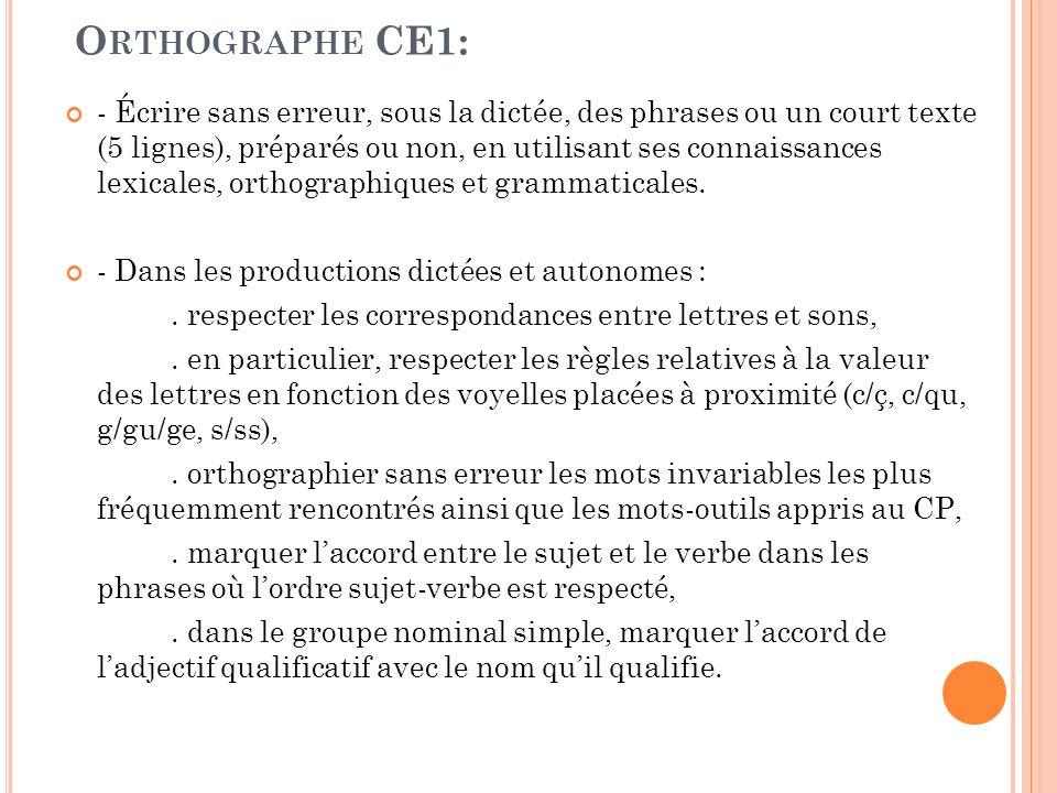 Orthographe CE1:
