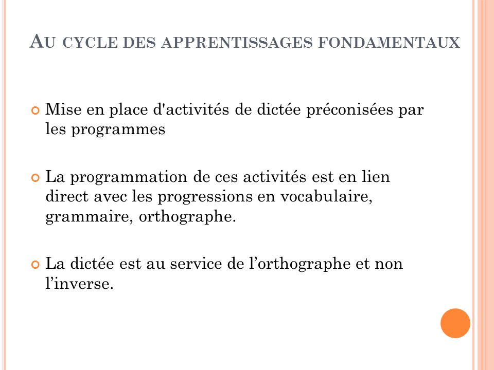 Au cycle des apprentissages fondamentaux