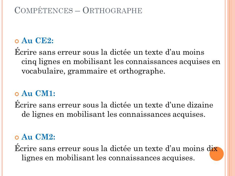 Compétences – Orthographe